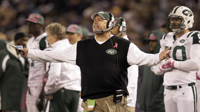 New York Jets head coach Rex Ryan reacts to a call on the field during the first half of an NFL football game against the Baltimore Ravens in Baltimore, Sunday, Oct. 2, 2011. (AP Photo/Patrick Semansky)