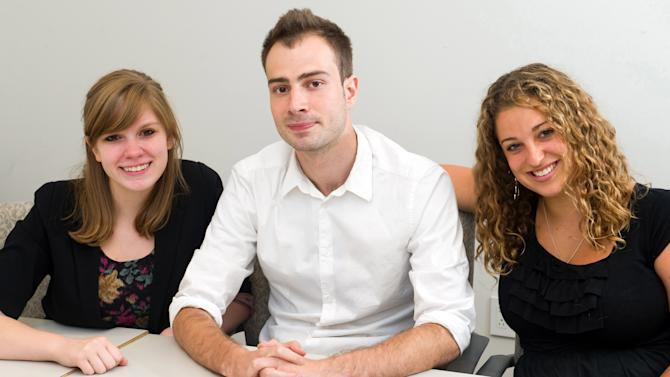 In this July 13, 2011 photo, students at the NYU Summer Publishing Institute, from left, Lindsay Neff, 22, from Stow, Ohio, Ben Zarov, 23, from Portland, Ore., and Darcy Latta, from West Chester, Pa., pose for a portrait in New York. They are among some 100 young people who attended New York University's summer publishing program, where CEOs, editors, booksellers, agents and recruiters give talks and teach seminars and students learn the basics of the publishing business. (AP Photo/Charles Sykes)