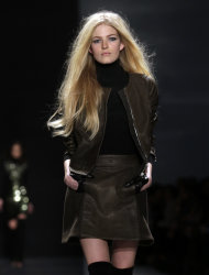 The Kaufman Franco Fall 2013 collection is modeled during Fashion Week in New York, Monday, Feb. 11, 2013. (AP Photo/Richard Drew)