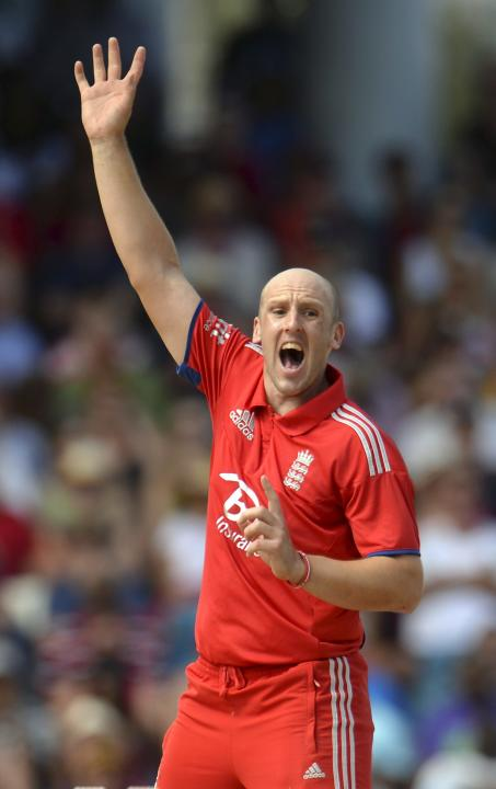 England's Tredwell appeals and dismisses West Indies' Gayle lbw during the first T20 international at Kensington Oval in Bridgetown