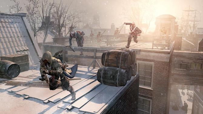 """This video game image released by Ubisoft shows an assassin fleeing across the rooftops of colonial New York in a scene from """"Assassin's Creed III."""" (AP Photo/Ubisoft)"""