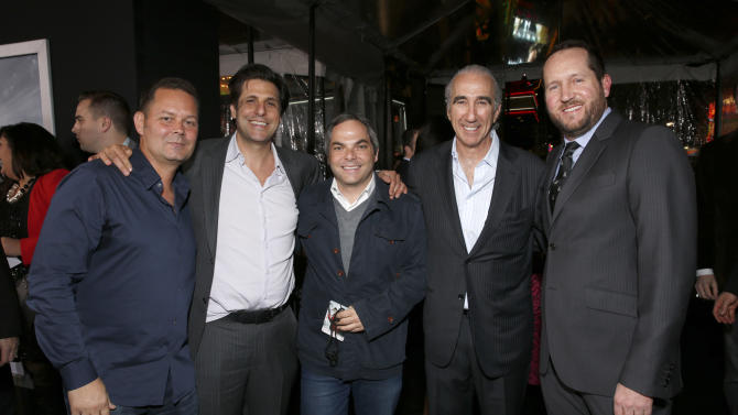 "Producer Kevin Messick, President of MGM Jonathan Glickman, President/ Paramount Film Group Adam Goodman, Chairman and CEO of MGM Gary Barber and producer Beau Flynn arrive at the premiere of ""Hansel & Gretel Witch Hunters"" on Thursday Jan. 24, 2013, in Los Angeles.  (Photo by Todd Williamson/Invision/AP)"