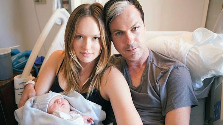 This Saturday, Sept. 21, 2013 photo released by BB Gun Press shows actress Kaylee DeFer, left, and Michael Fitzpatrick, better known as Fitz of Fitz and The Tantrums, with their son Théodore Ignatius Fitzpatrick in Los Angeles. Théodore was born on Friday. (AP Photo/BB Gun Press)