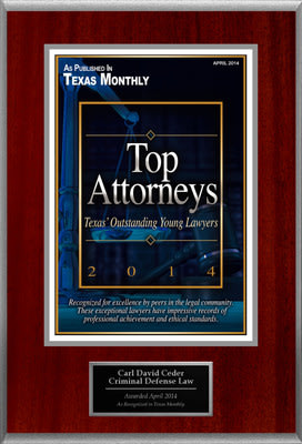 Attorney Carl David Ceder Selected for List of Top Rated Lawyers in TX.