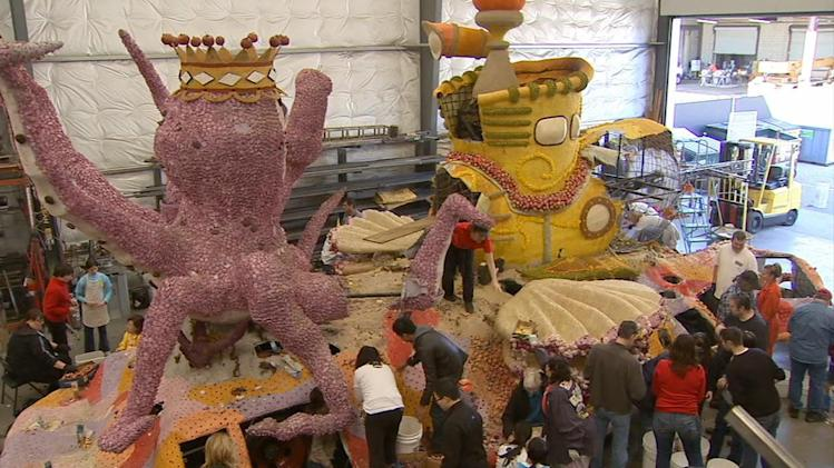 Award-winning Rose Parade float dismantled
