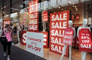 This file foto shows a store offering discounts during a sale in Sydney, last month. Australin economy grew 1.3 percent in the March quarter, taking annual growth to a stellar 4.3 percent -- far outstripping its counterparts in the developed world which are struggling with the eurozone's debt crisis