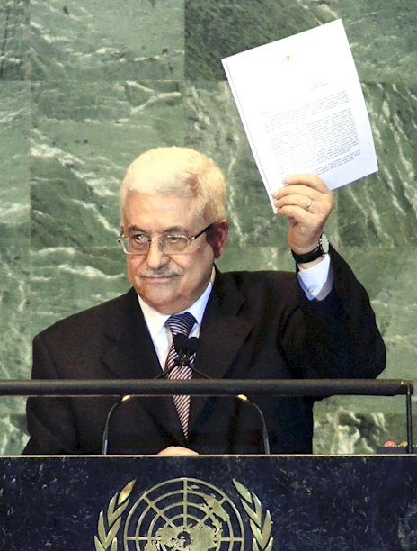 FILE - In this Friday, Sept. 23, 2011 file photo, Palestinian President Mahmoud Abbas delivers a speech at U.N. General Assembly at the U.N. headquarters in New York. The Palestinians are resigned to defeat in their quest for full membership at the United Nations, officials said Wednesday, Nov. 9, 2011, and have already started work on their backup plan: seeking an upgraded observer status that would give them access to key international organizations. (The Yomiuri Shimbun via AP Images, File) JAPAN OUT