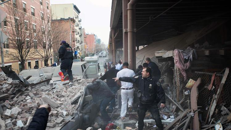 collapse in the East Harlem neighborhood of New York, Wednesday, March