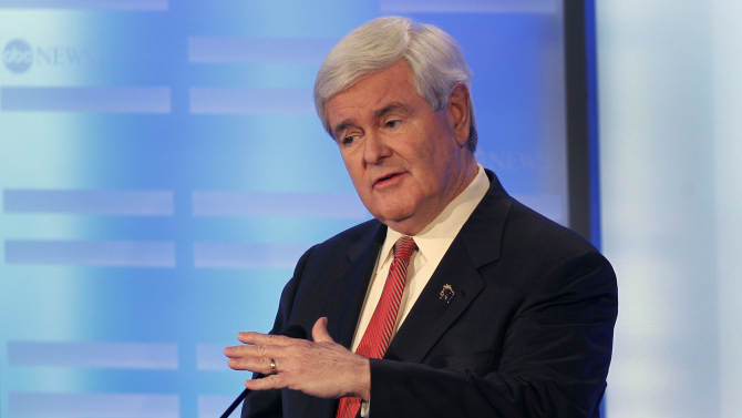 Former House Speaker Newt Gingrich answers a question during a Republican presidential candidate debate at Saint Anselm College in Manchester, N.H., Saturday, Jan. 7, 2012. (AP Photo/Elise Amendola)