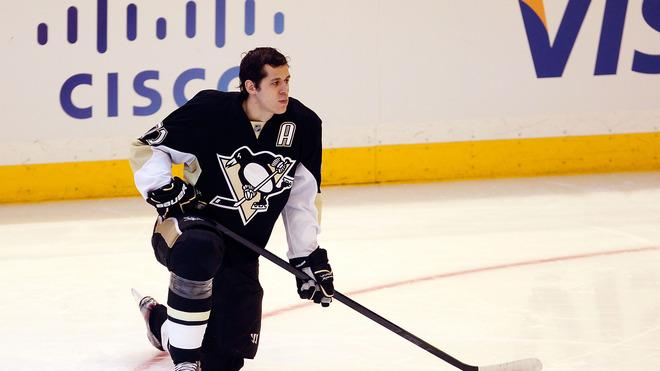 Evgeni Malkin #71 Of The Pittsburgh Penguins And Team Chara Kneels Getty Images