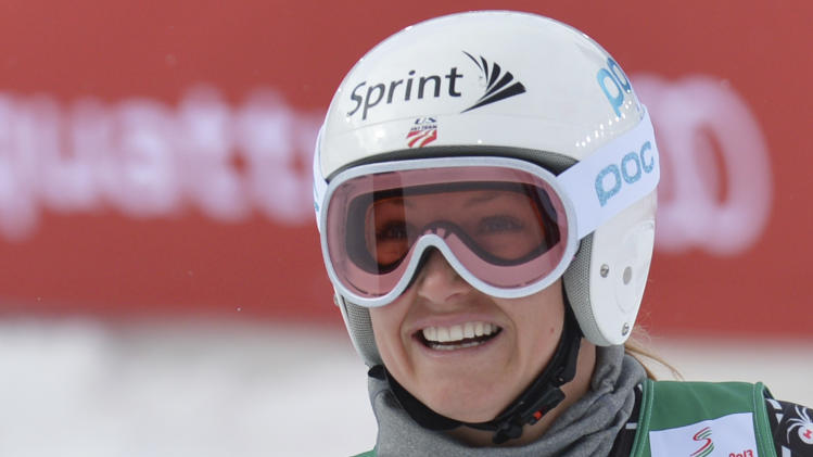 United States' Julia Mancuso smiles during the women's downhill training at the Alpine skiing world championships in Schladming, Austria, Thursday, Feb.7,2013. (AP Photo/Kerstin Joensson)