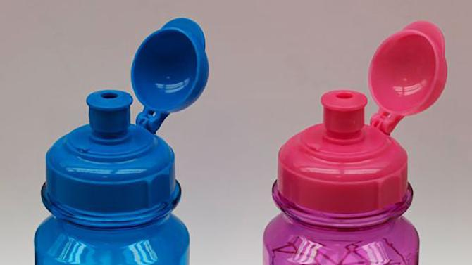 This image provided by the U.S. Consumer Product Safety Commission and H&M Hennes & Mauritz shows children's water bottles that are being recalled because the water bottles' spouts can break off, posing a choking hazard to children. (AP Photo/U.S. Consumer Product Safety Commission via H&M Hennes & Mauritz)