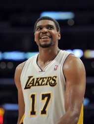 Los Angeles Lakers center Andrew Bynum looks toward the scoreboard during the second half of an NBA first-round playoff basketball game against the Denver Nuggets, Sunday, April 29, 2012, in Los Angeles. The Lakers won 103-88. (AP Photo/Mark J. Terrill)