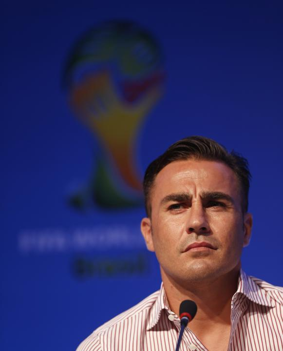 Former Italy's soccer player Cannavaro attends a news conference ahead of the 2014 World Cup draw at the Costa do Sauipe resort in Sao Joao da Mata