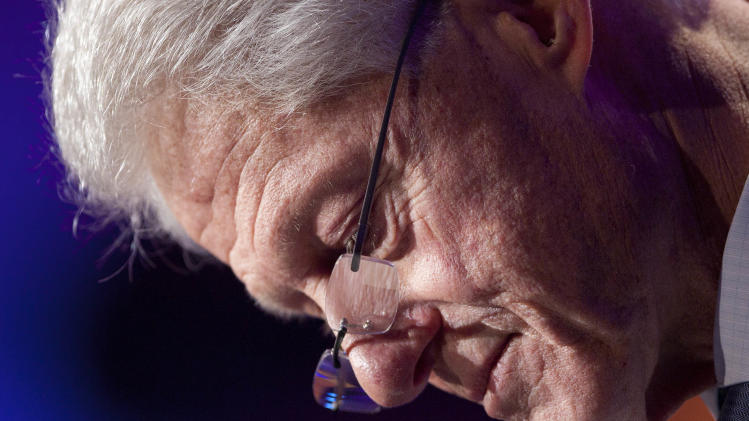 Former U.S. President Bill Clinton speaks as he opens the Clinton Global Initiative, Sunday, Sept. 23, 2012 in New York. (AP Photo/Mark Lennihan)