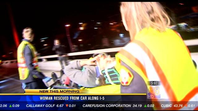 Woman rescued from car along I-5