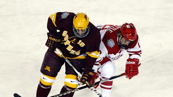 Minnesota forward Nate Condon, left, battles Wisconsin forward Sean Little for a loose puck during the third period of a college hockey game at Chicago's Soldier Field, Sunday, Feb. 17, 2013. Wisconsin won 3-2. (AP Photo/Charles Rex Arbogast)
