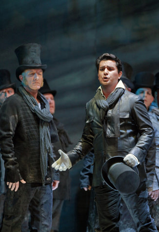 "This Sept. 2012 image released by the San Francisco Opera shows Albanian tenor Saimir Pirgu, right, during a performance of ""I Capuleti e i Montecchi,"" in San Francisco. (AP Photo/San Francisco Opera, Cory Weaver)"