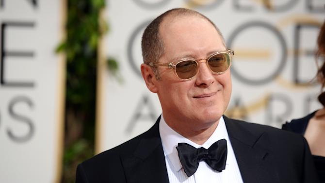 """FILE - In this Jan. 12, 2014, file photo, James Spader arrives at the 71st annual Golden Globe Awards at the Beverly Hilton Hotel in Beverly Hills, Calif. Fans gathered for the panel for NBC's drama """"The Blacklist"""" on Saturday, July 26 received black fedoras, in honor of the character played by Spader. On """"The Blacklist,"""" Spader is Raymond """"Red"""" Reddington, a fedora-wearing, former fugitive who turns himself in to be an informant. (Photo by Jordan Strauss/Invision/AP, File)"""
