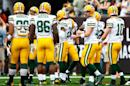 The Green Bay Packers players prepare to huddle for warmups prior to facing the Tampa Bay Buccaneers, at Raymond James Stadium in Tampa, Florida, on December 21, 2014