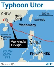 Graphic map showing the path of Typhoon Utor as it shuts down Hong Kong and heads towards the coast of China's Guangdong province on Wednesday