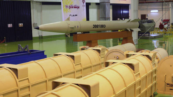 FILE -- This photo released on Tuesday, Sept. 21, 2010, by the Iranian Defense Ministry, claims to show the upgraded surface-to-surface Fateh-110 missile at an undisclosed location, in Tehran, Iran. Israel has carried out airstrikes against Syria twice in the past three days to target what officials say are shipments of highly accurate, Iranian-made guided missiles known as Fateh-110s. Israel worries the missiles could be transferred to Lebanon's Hezbollah, providing a major boost to the Shiite militant group's arsenal. (AP Photo/Iranian Defense Ministry,Vahid Reza Alaei, File)
