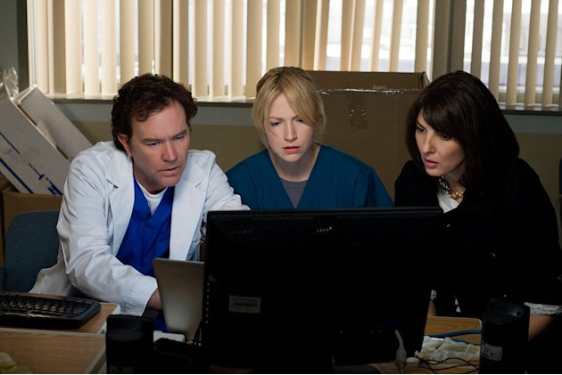 "Timothy Hutton, Beth Riesgraf and Gina Bellman in ""Leverage."""