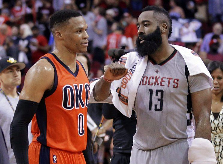 "<a class=""yom-entity-link yom-entity-sports_player"" href=""/nba/players/4390/"">Russell Westbrook</a> and James Harden will be up for the biggest honor at June's NBA Awards. (AP)"