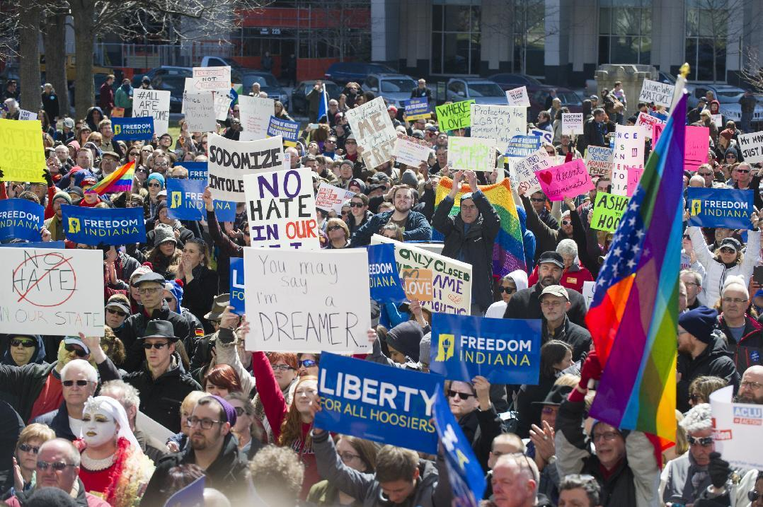 Hundreds rally against Indiana law, say it's discriminatory