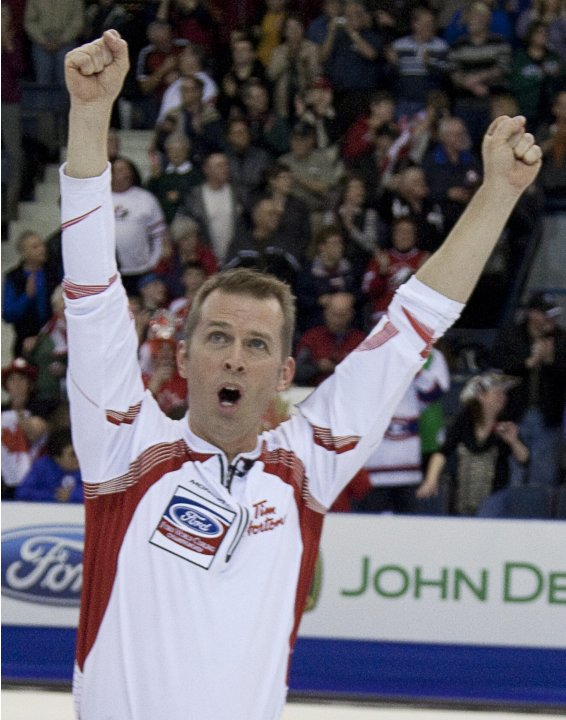 Canada skip Jeff Stoughton celebrates his team's win over Scotland for the title at the men's world curling championships in Regina, Saskatchewan, Sunday, April 10, 2011.  (AP Photo/The Canadian Press