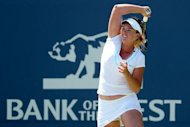 Coco Vandeweghe returns a shot to Yanina Wickmayer of Belgium during the semi-finals of the Bank of the West Classic at Stanford University Taube Family Tennis Stadium in Stanford, California. Vandeweghe booked the first WTA final of her career with a 6-2, 3-6, 6-2 victory