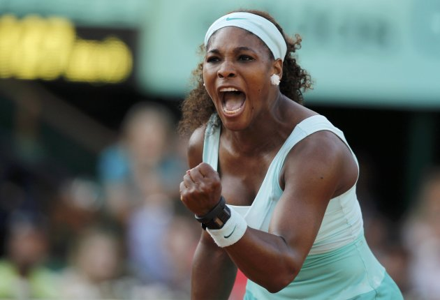 Williams of the U.S. reacts during her match against Razzano of France during the French Open tennis tournament at the Roland Garros stadium in Paris