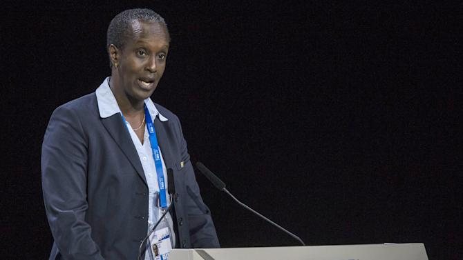 Lydia Nsekera, FIFA Executive Committee Member, speaks during the 65th FIFA Congress held at the Hallenstadion in Zurich, Switzerland, Friday, May 29, 2015. (Patrick B. Kraemer/Keystone via AP)