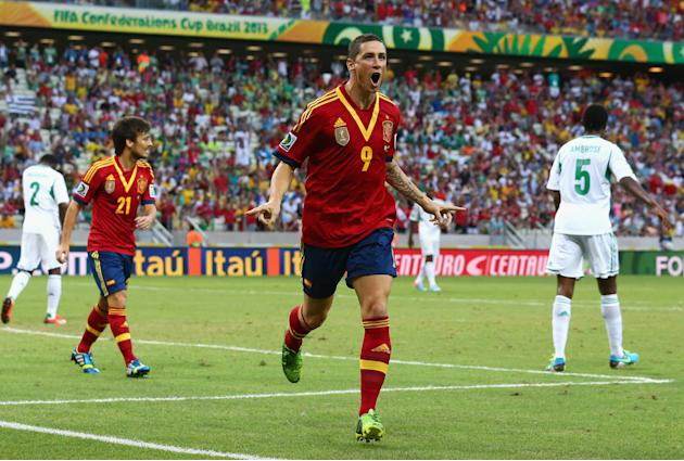 FORTALEZA, BRAZIL - JUNE 23: Fernando Torres of Spain celebrates as he scores their second goal during the FIFA Confederations Cup Brazil 2013 Group B match between Nigeria and Spain at Castelao on Ju