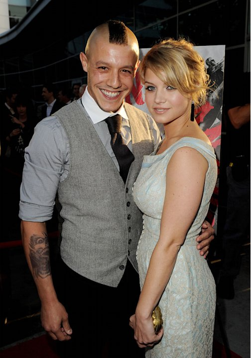 Theo Rossi and Sarah Jones attend FX's &quot;Sons Of Anarchy&quot; Season 3 premiere on August 30, 2010, in Hollywood. 