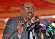 Sudanese President Omar al-Bashir speaks during an event with oil industry workers in Khartoum. Neither the United Nations nor the African Union can impose its will on Sudan, Bashir said, after fresh fighting along the border with South Sudan