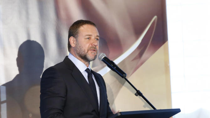 Russell Crowe attends the Australian Academy Of Cinema And Television Arts' 2nd AACTA International Awards at Soho House on January 26, 2013 in West Hollywood, California. (Photo by Todd Williamson/Invision/AP Images)