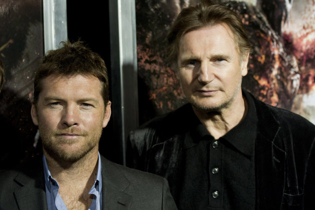 "Actors Sam Worthington, left, and Liam Neeson attend the world premiere of ""Wrath of the Titans"" in New York, Monday, March 26, 2012. (AP Photo/Charles Sykes)"