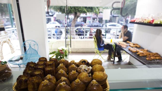 A tray of pastries is seen at a patisserie in Netanya