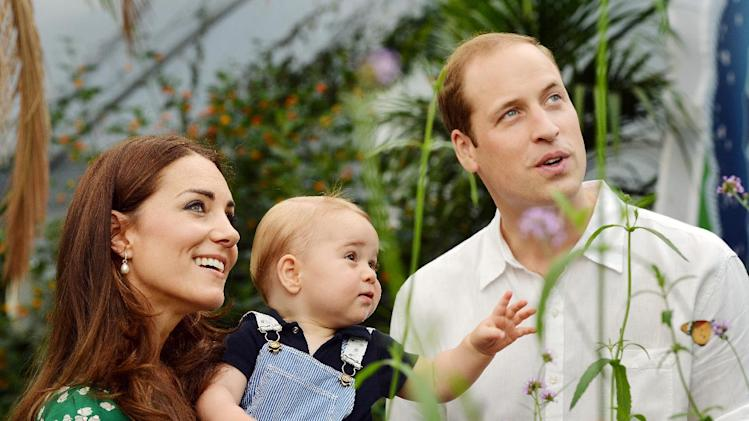 Prince William and Catherine, Duchess of Cambridge with Prince George during a visit the Natural History Museum in London on July 2, 2014 to mark Prince George's first birthday