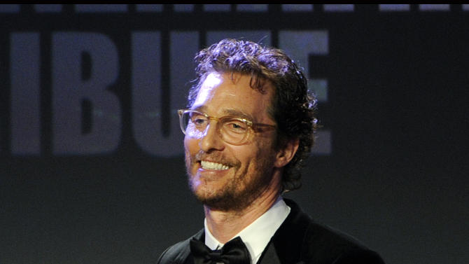 Honoree Matthew McConaughey takes the stage during the American Cinematheque Award Presentation to McConaughey at the Beverly Hilton on Tuesday, Oct. 21, 2014, in Beverly Hills, Calif. (Photo by Chris Pizzello/Invision/AP)