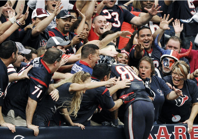 Houston Texans wide receiver Andre Johnson (80) dives into the crowd after scoring the winning touchdown against the Jacksonville Jaguars in overtime of an NFL football game, Sunday, Nov. 18, 2012, in