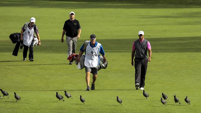 Tiger Woods, right, and Bo Van Pelt walk down the second hole fairway during the second round of the World Challenge golf tournament at Sherwood Country Club in Thousand Oaks, Calif., Friday, Nov. 30, 2012. (AP Photo/Bret Hartman)