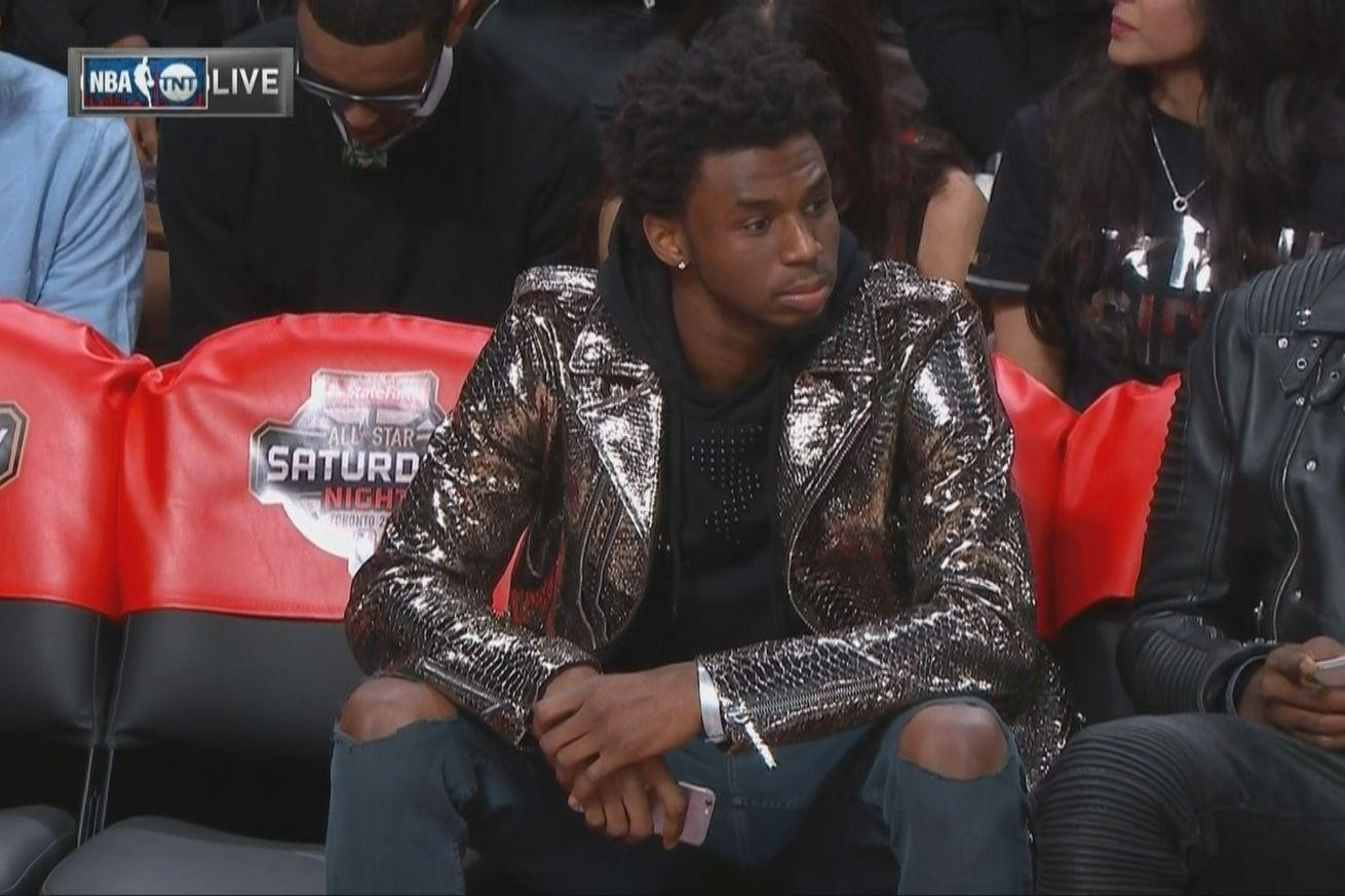 Andrew Wiggins and his shiny jacket may be auditioning for a rock band