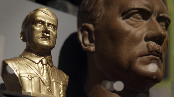 Two busts of Adolf Hitler are pictured during a preview for the exhIbition 'Hitler and the Germans - nation and crime' in Berlin, Germany, Wednesday, Oct. 13, 2010. The exhibition runs from Oct. 15, 2010 until Feb. 6, 2011. (AP Photo/Michael Sohn)