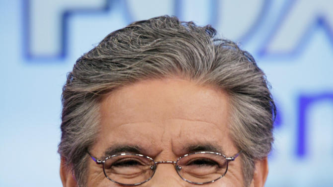 "FILE - Geraldo Rivera on the ""Fox & friends"" television program in New York in this June 25, 2010 file photo. Rivera, who hosts a weekend show on Fox News Channel, said Thursday Jan. 31, 2013 he's seriously thinking about running for U.S. Senate in New Jersey.  (AP Photo/Richard Drew, File)"