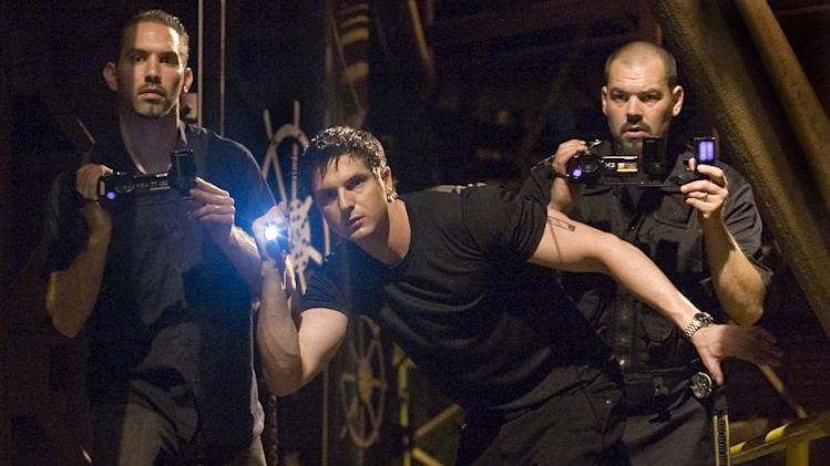 "Nick Groff, Zak Bagans, and Aaron Goodwin in ""Ghost Adventures."""