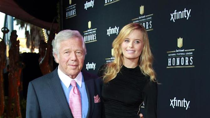 From left, Robert Kraft owner of New England Patriots and Ricki Lander arrives at the 2nd Annual NFL Honors, on Saturday, Feb. 2. 2013 in New Orleans (Photo by Dario Cantatore/Invision/AP)