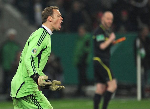 Bayern Munich's Goalkeeper Manuel Neuer Celebrates  AFP PHOTO / PATRIK STOLLARZ  RESTRICTIONS / EMBARGO - DFL LIMITS AFP/Getty Images