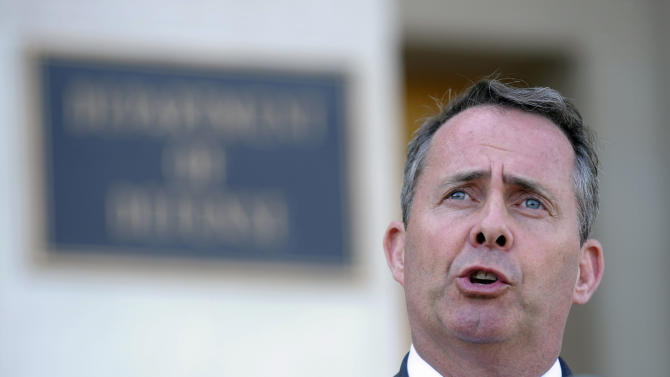 British Defense Minister Liam Fox speaks during joint statement with Defense Secretary Robert Gates, Tuesday, April 26, 2011, at the Pentagon. (AP Photo/Susan Walsh)